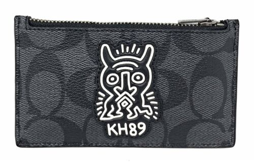 Coach Men's Keith Haring Zip Card Case In Signature Canvas With Motif F66588
