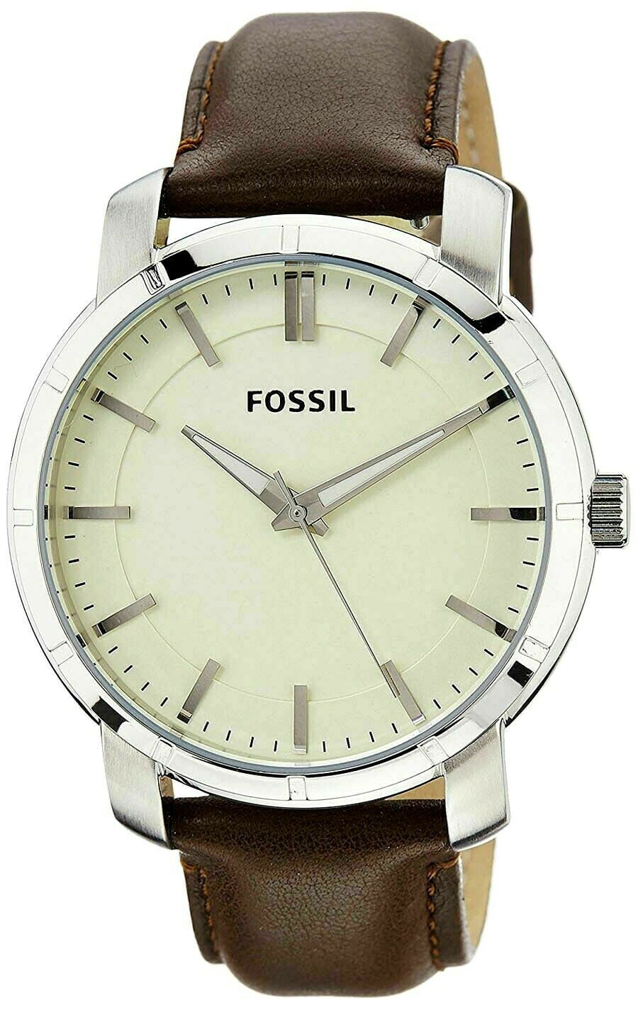 Fossil Off White Dial Brown Silver Leather Strap Men's Watch BQ1285