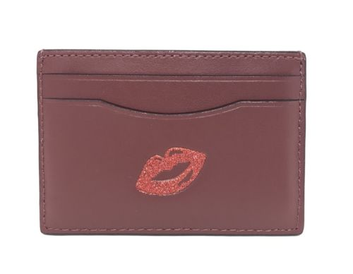 Coach Flat Credit Card Case Holder Leather Multicolor w/Glitter Red Lips F27038