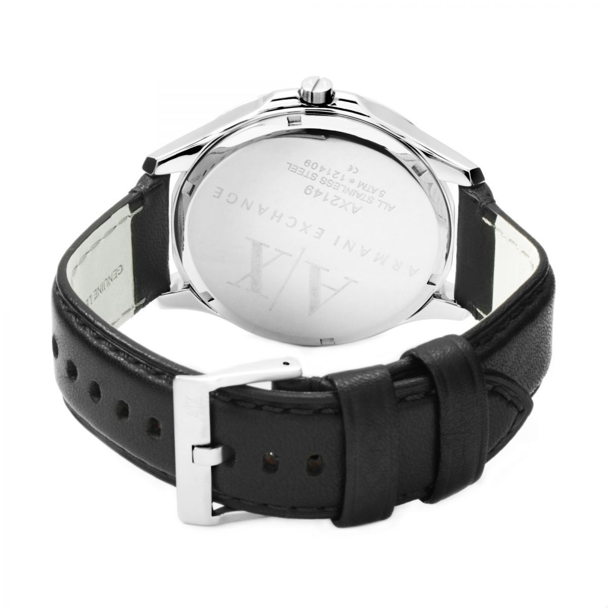 Armani Exchange Men's Stainless Steel Black Leather Strap Watch AX2149