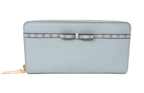 Kate Spade Elliot Street Lacey Shimmer Blue Zip Around Wallet PWRU5962 $198