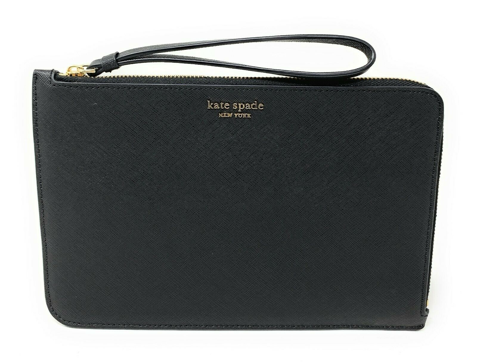 Kate Spade Cameron Large L-Zip Black Leather Wristlet WLRU5447