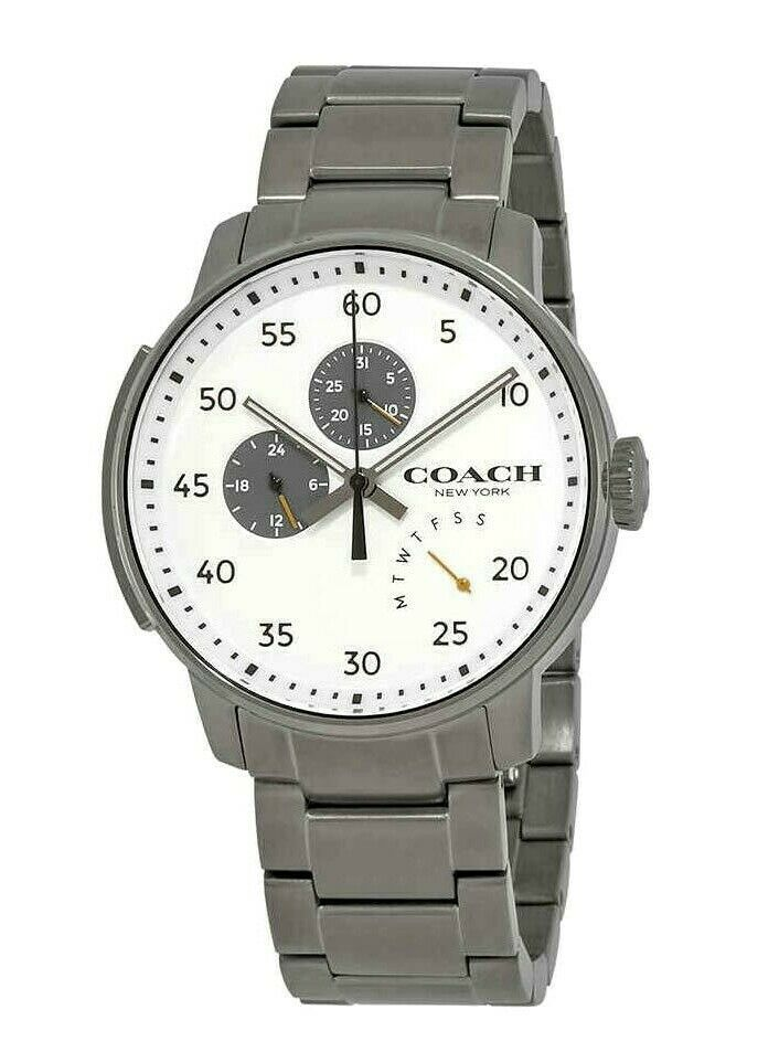 Coach Bleecker White Dial Men's Watch Silver Stainless Steel Sport 14602359 $325