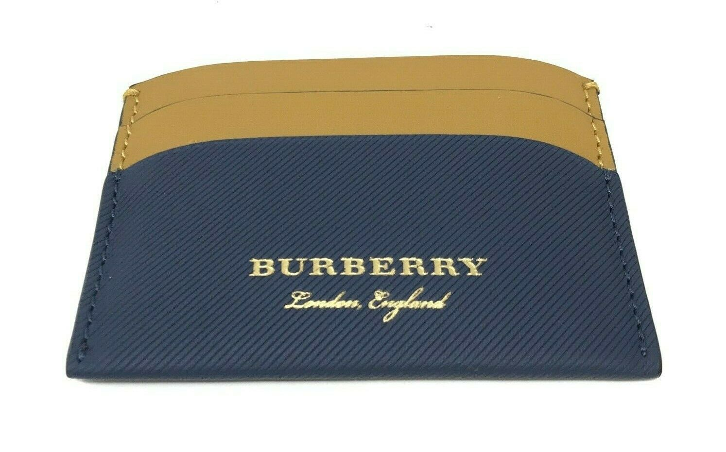 Burberry Men's Trench Izzy Ink Blue Leather Card Case Wallet