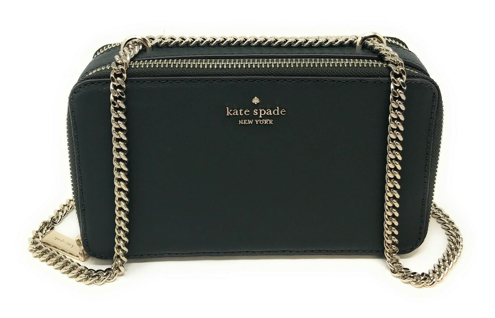 Kate Spade Double Zip Chain Connie Leather Crossbody Bag Clutch WKRU6127
