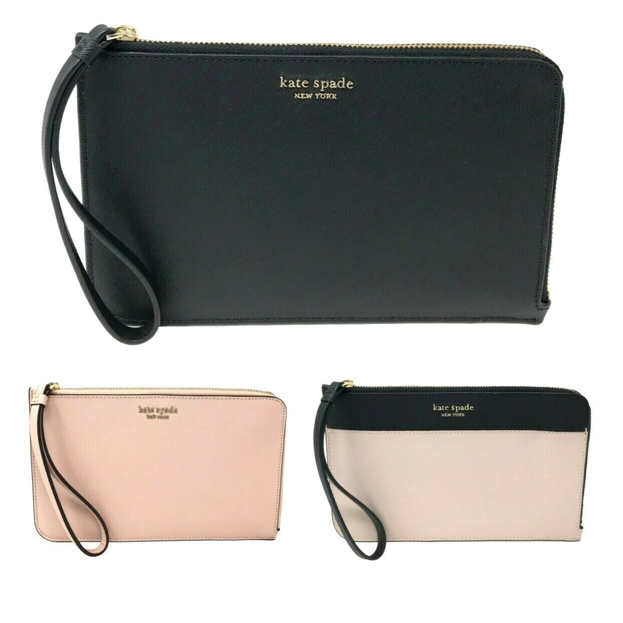 Kate Spade Cameron Medium L Zip Leather Wristlet Pouch Wallet $119