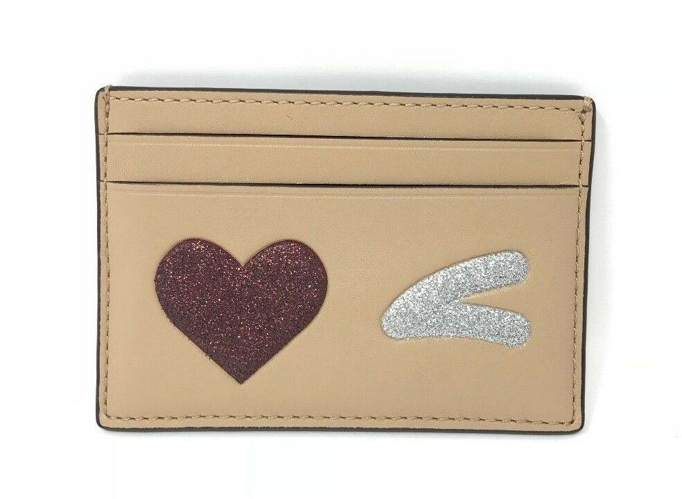 Coach Flat Credit Card Case With Glitter Heart Wink Multi Wallet F23760 $75