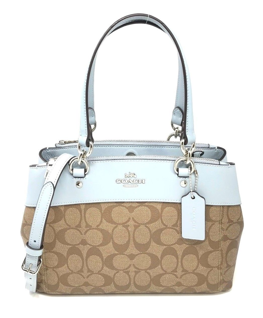 Coach F26139 Signature Mini Brooke Carryall Tote Bag Crossbody Khaki Pale Blue