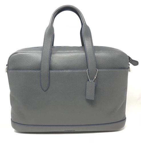 Coach F11319 Men's Hamilton Graphite Pebbled Leather Laptop Bag Briefcase $450