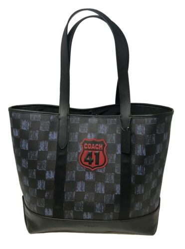 Coach Men's West Tote With Graphic Checker Print Midnight Navy Bag F23250 $595
