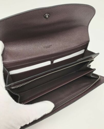 "Coach F22726 ""Outlaw"" Bear 4 Oxblood Slim Envelope Leather Women's Wallet $275"