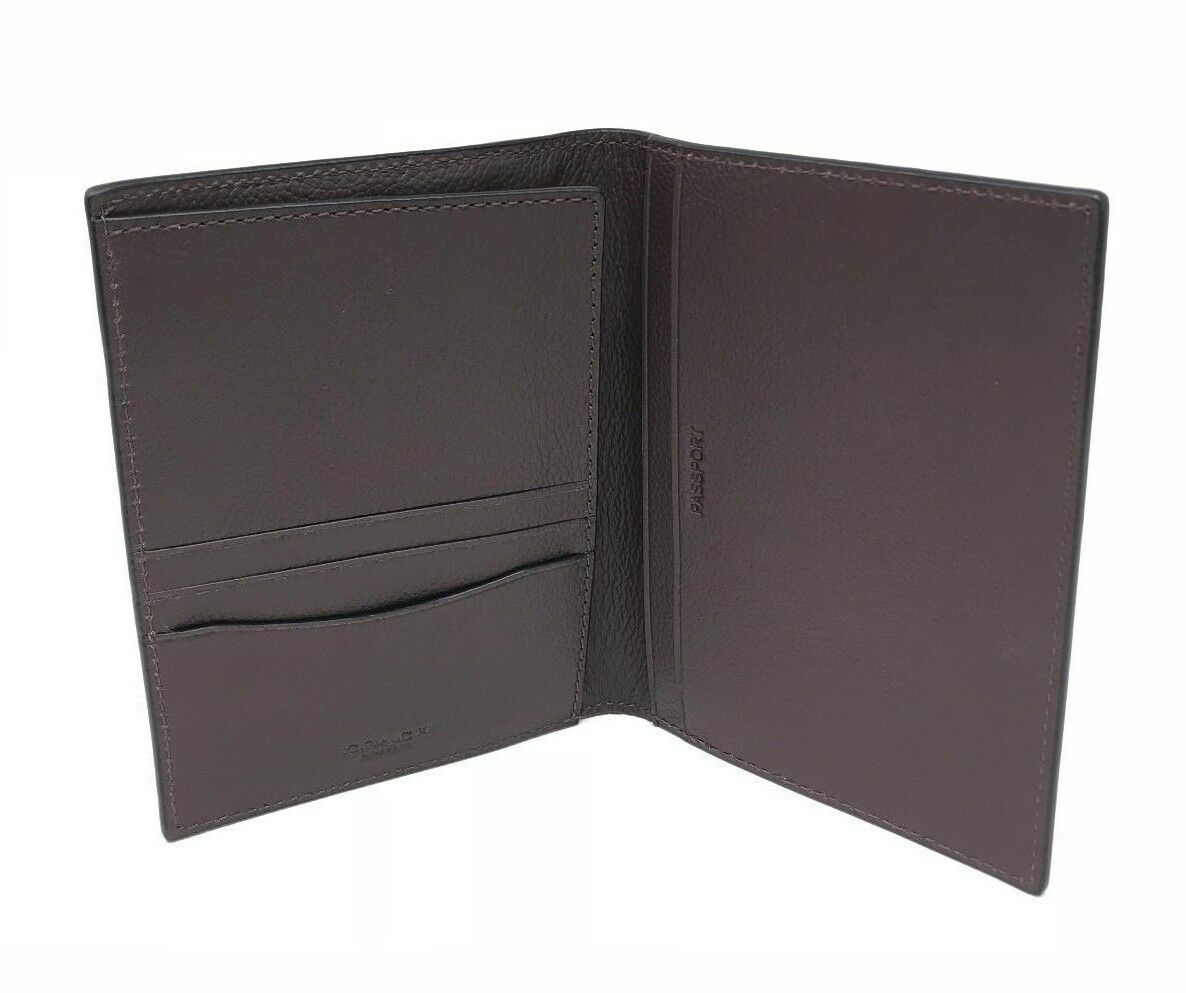 Coach Men's Leather Passport Case Wallet Baseball Stitch F22538 w/Gift Box $150