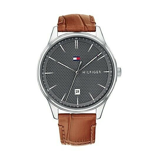 Tommy Hilfiger Men's Gray Dial Brown Leather Steel Watch 1791492