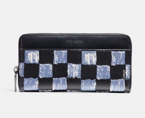 Coach F22542 Men's Accordion Wallet With Graphic Checker Print Dusk Multi $250