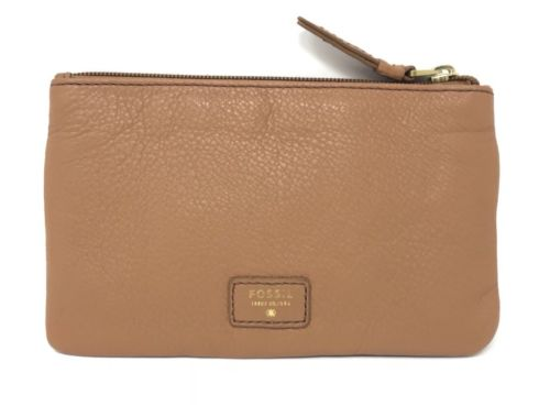 Fossil Karli Clutch Saddle Brown Pebble Leather Wallet SWL1252216 $65
