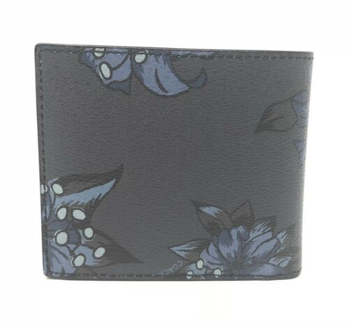 Coach Men's Double Billfold Wallet Hawaiian Lilly Floral Midnight F32304 $175