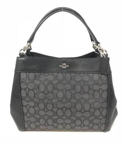 Coach Small Lexy Shoulder Bag Signature Jacquard & Leather F29548 $325