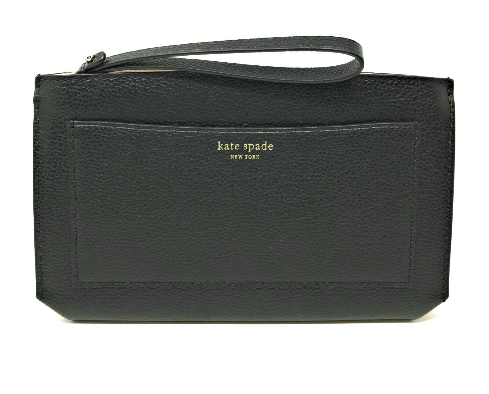 Kate Spade Eva Wallet Clutch Wristlet Black Warm Beige Leather WLRU5360 $189