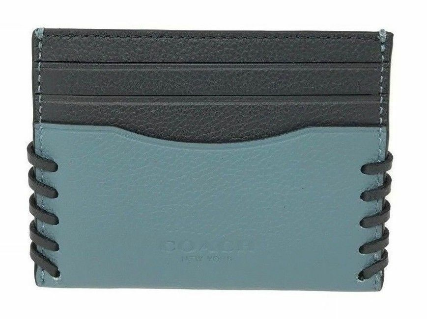 Coach F22370 Men's Slim Card Case With Baseball Stitch (Choose Color)