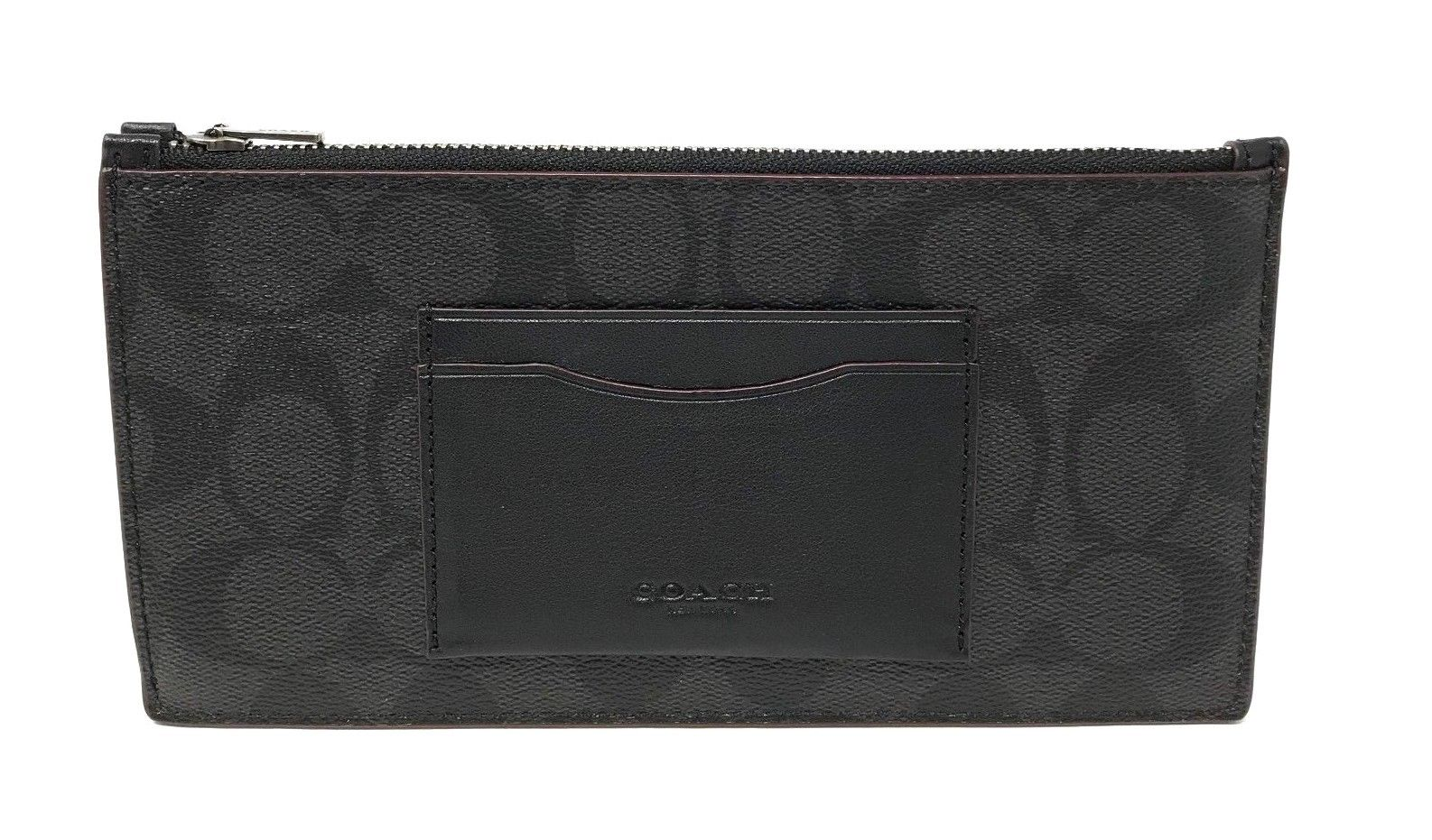 Coach Men's Zip Phone Wallet In Signature Canvas Black/Oxblood F41383 $175