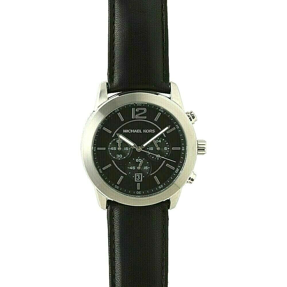 Michael Kors Keaton Stainless Steel Black Chrono Dial 43mm Watch MK8668 $250