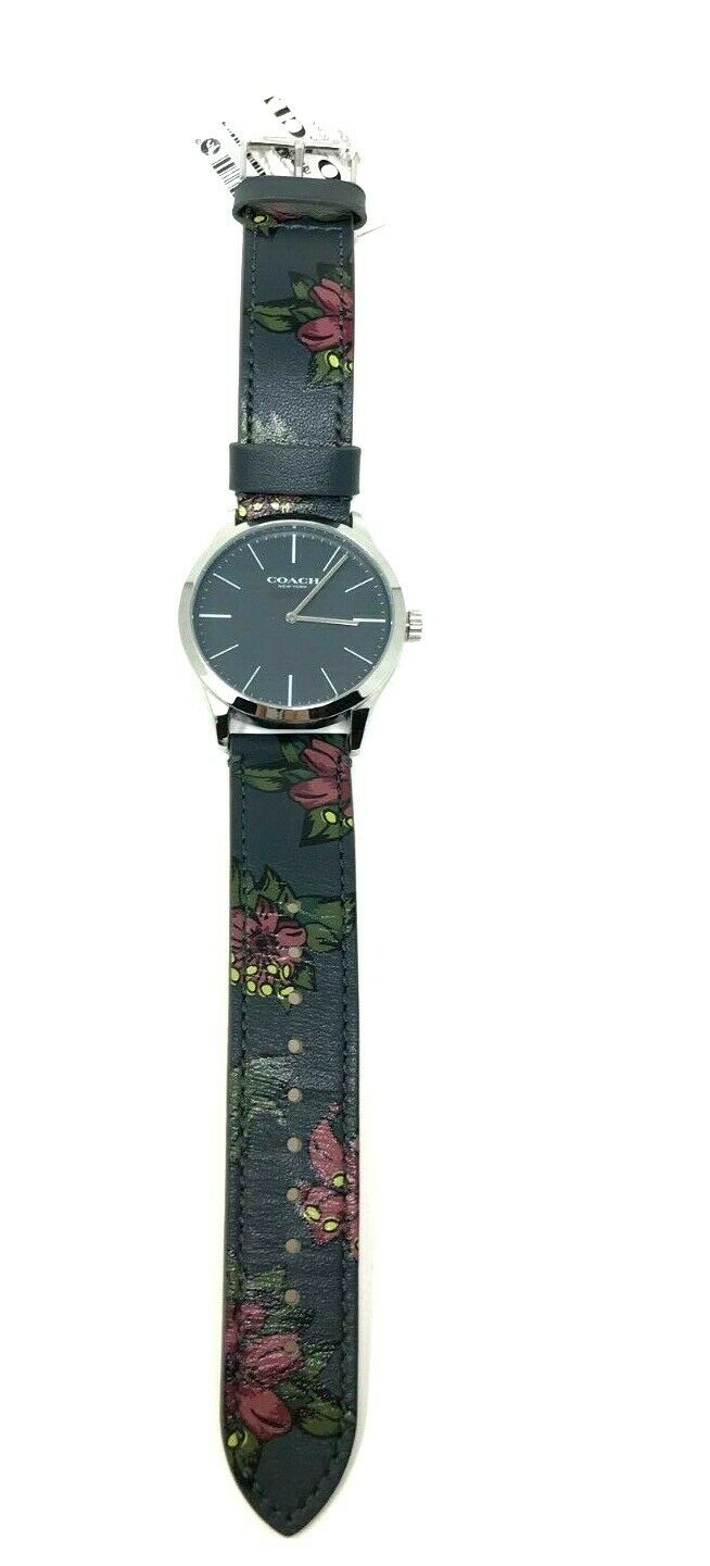 Coach Men's Watch Grey Leather Strap Stainless Steel Floral 14602372 $175