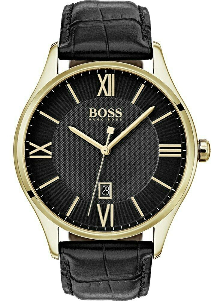 Hugo Boss Original 1513554 Men's Governor Black Leather Watch 43mm