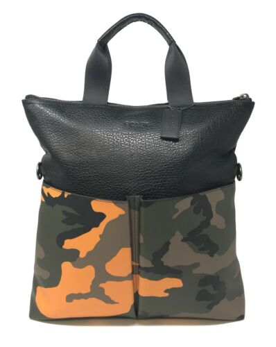 Coach F24765 Men's Charles Foldover Tote With Camo Print Tangerine Bag $475