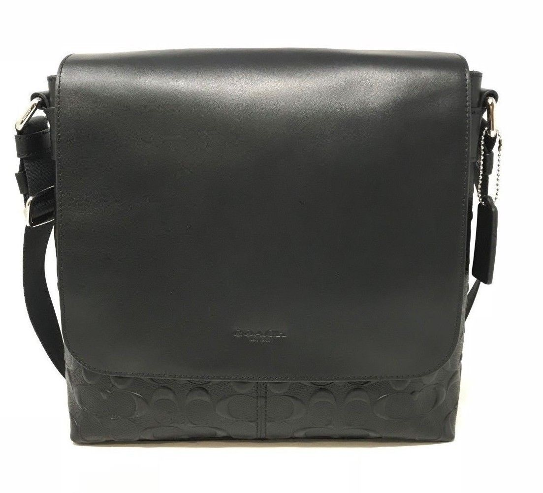 Coach F28577 Charles Small Messenger Signature Crossgrain Black Leather $425