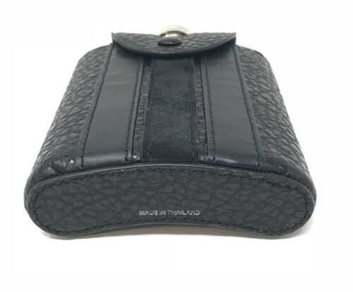 Coach Beverage Flask With Varsity Stripe Black Leather Cover F22537 $95