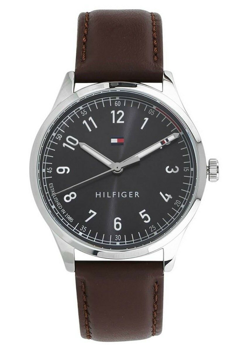 Tommy Hilfiger Classic Men's Quartz Brown Leather Band Watch 1791403 $95
