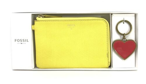Fossil Brenna Wristlet Gift Box Set- Wristlet & Key Ring- bright yellow-hash tag $98