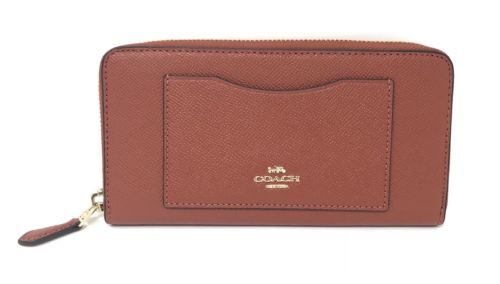 Coach F54007 Women's Accordion Zip Wallet In Crossgrain Terracotta Leather $250