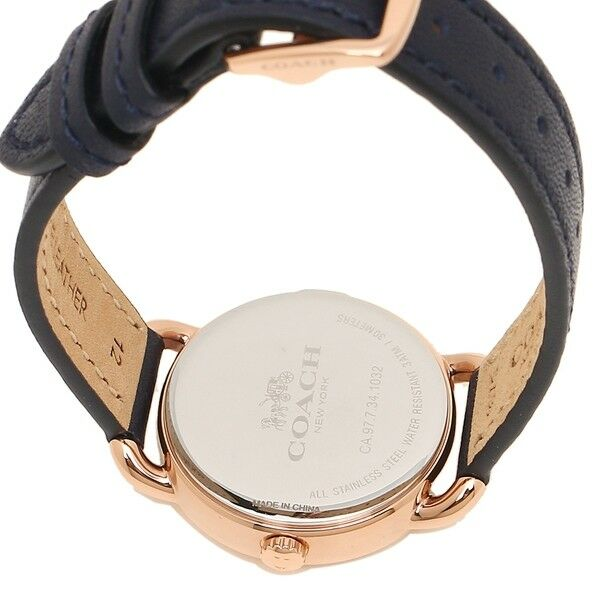 Coach Delancey Navy Strap Rose Gold Case Women's Watch 28mm 14502749 $250