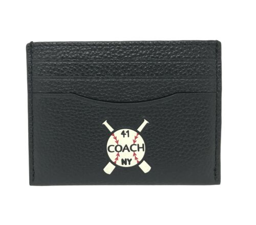 Coach F25955 Men's Slim Credit Card Case With Mixed Patches Black Wallet $125