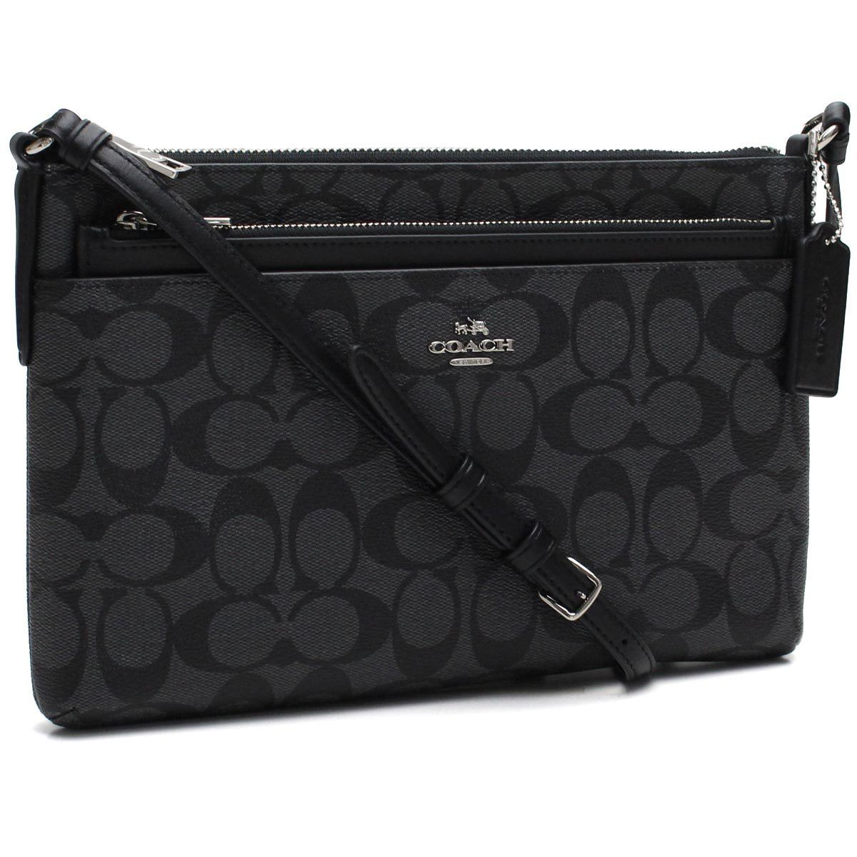 Coach East/West Crossbody w/ Pop-up Pouch in Signature Black Smoke F58316 $225