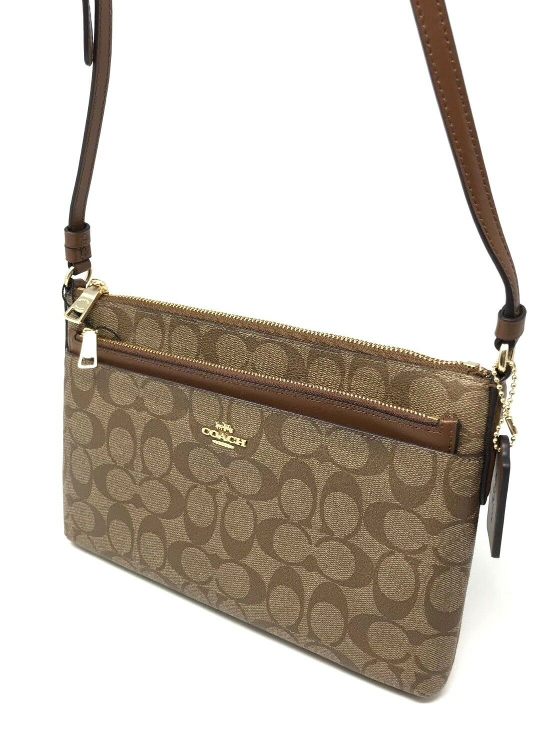 Coach East/West Crossbody w/ Pop-up Pouch in Signature Khaki Saddle F58316 $225