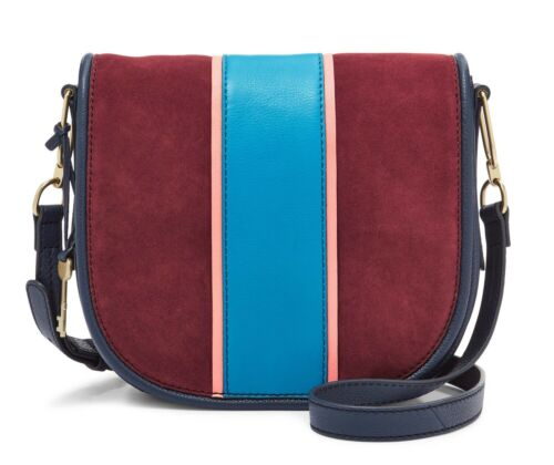 Fossil Rumi Flap Crossbody Leather Bag ZB7392607 Cabernet/Navy/Blue $198