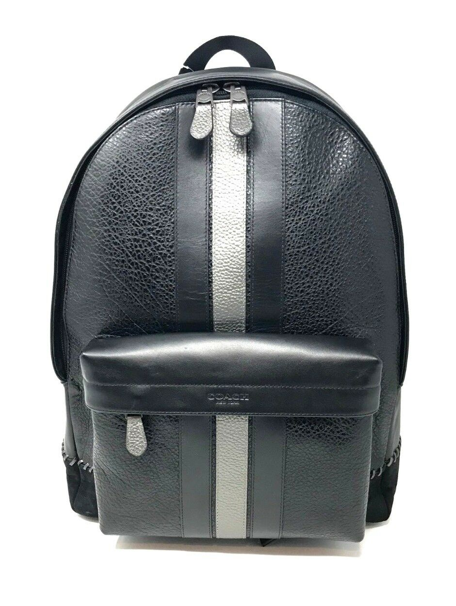 Coach Men's Charles Backpack With Baseball Stitch Leather Black F37749 $595