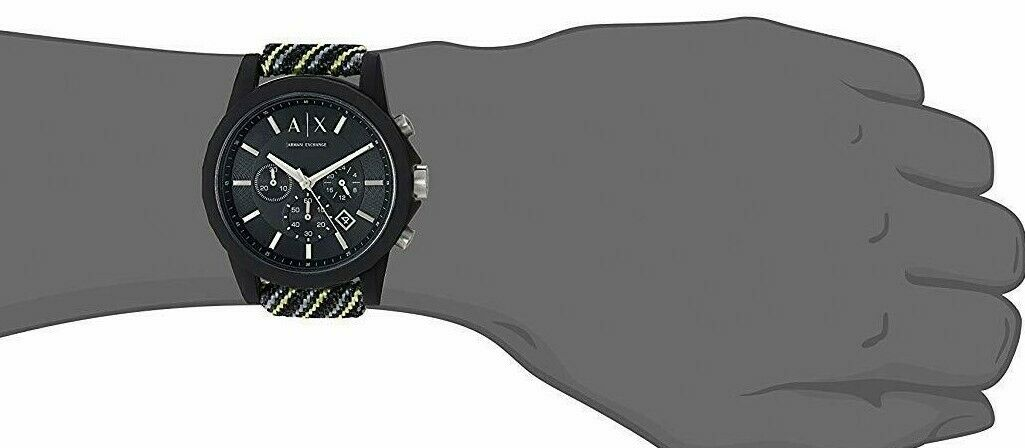 Armani Exchange Men's Watch Black Multi Fabric Chronograph Watch AX1334 $140