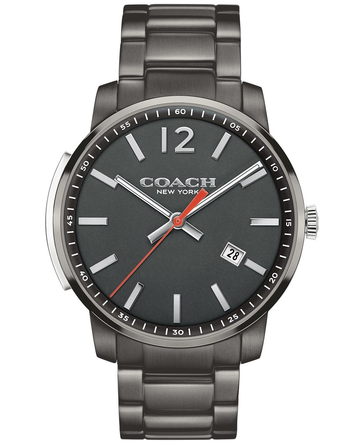 Coach Men's Bleecker Slim Gunmetal Ion-Plated Bracelet Watch 42mm 14602002 $295