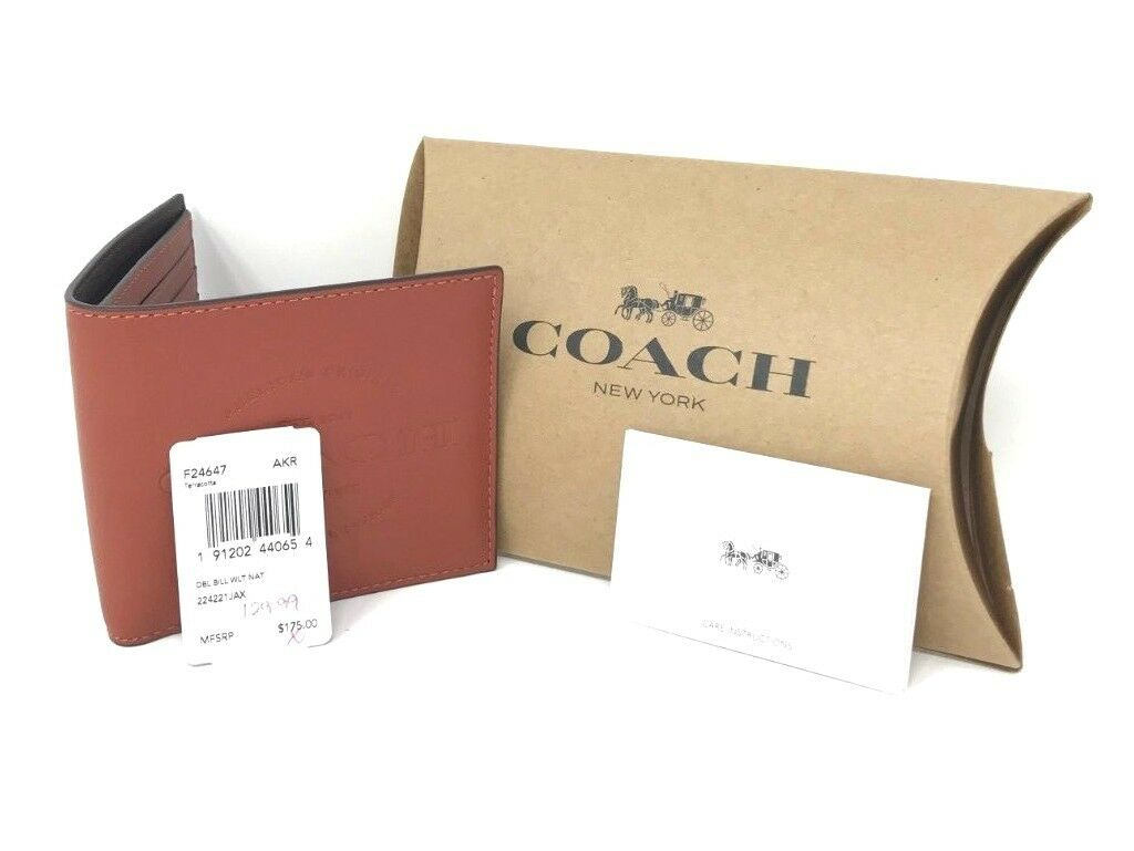 Coach Men's Billfold 1941 NY House of Leather Terracotta Wallet F24647 $175