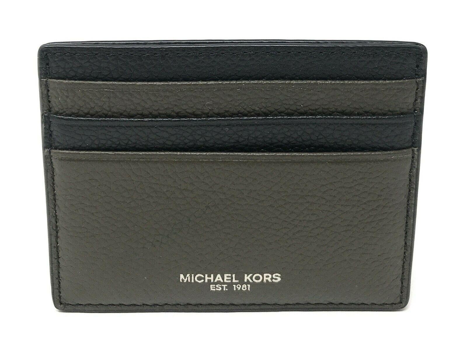 Michael Kors Men's Warren Card Case Money Clip Wallet Leather Credit Card Holder