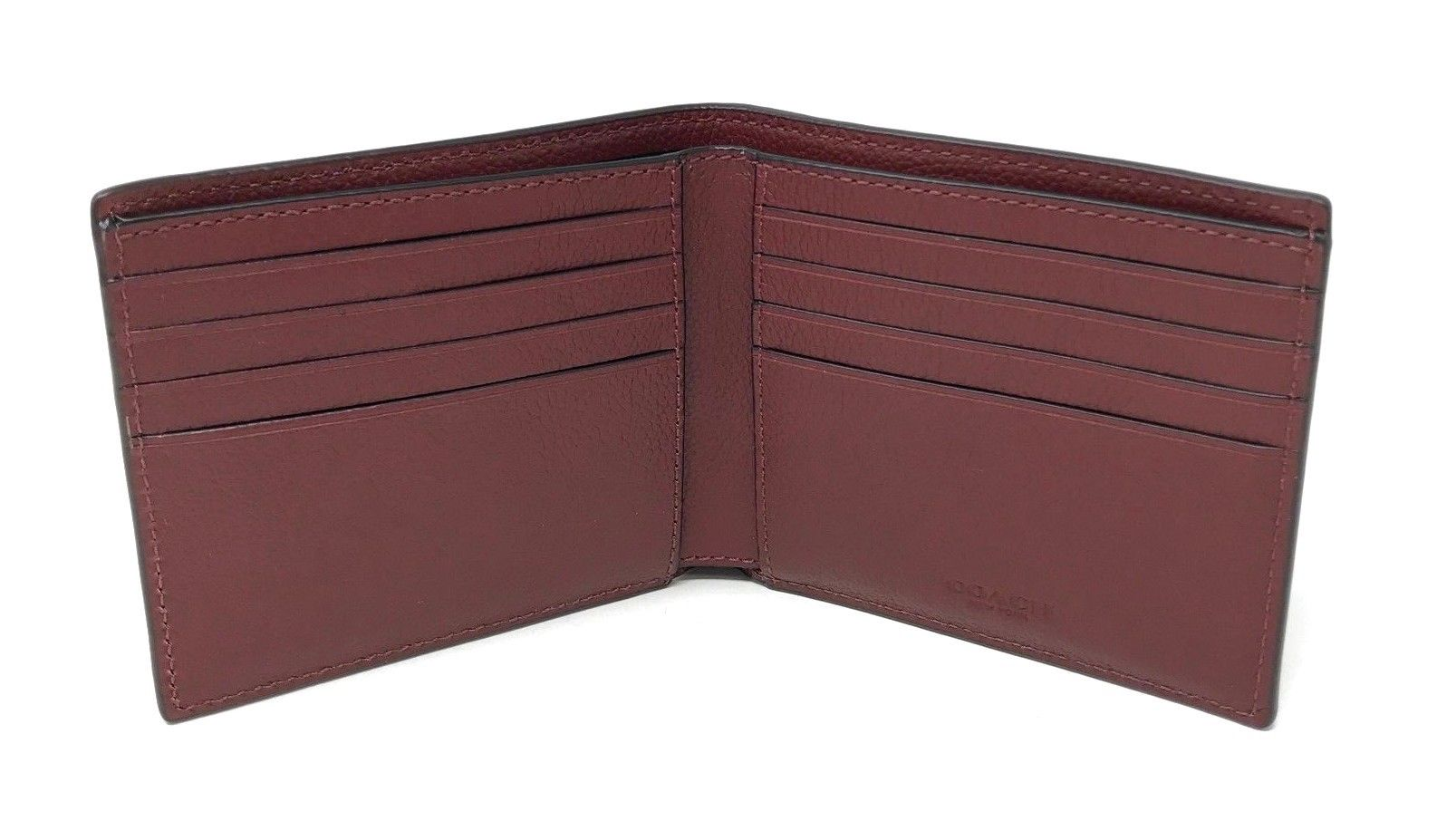 Coach Men's Billfold Double Fold Sport Calf Leather Cardinal Wallet F75084 $150