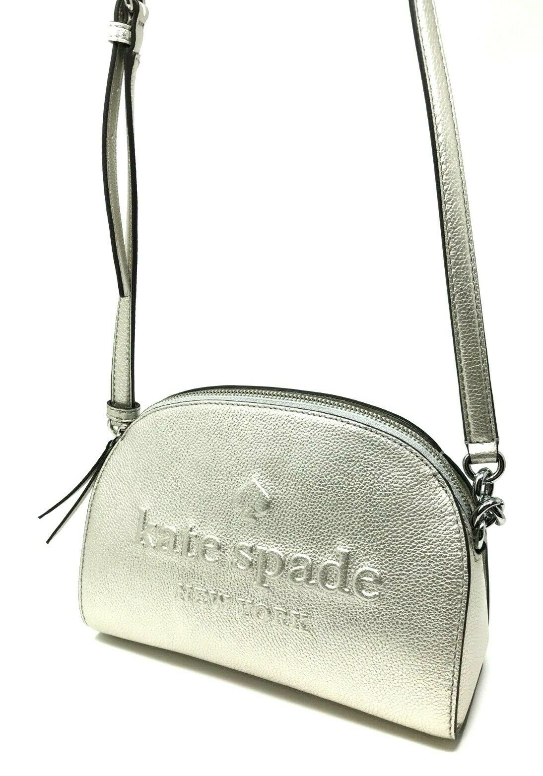 Kate Spade Larchmont Avenue Logo Tori Crossbody Bag Metallic Silver WKRU5728 $229