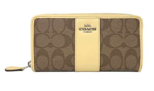 Coach F54630 Signature PVC Leather Accordion Zip Wallet in Khaki/Vanilla $250