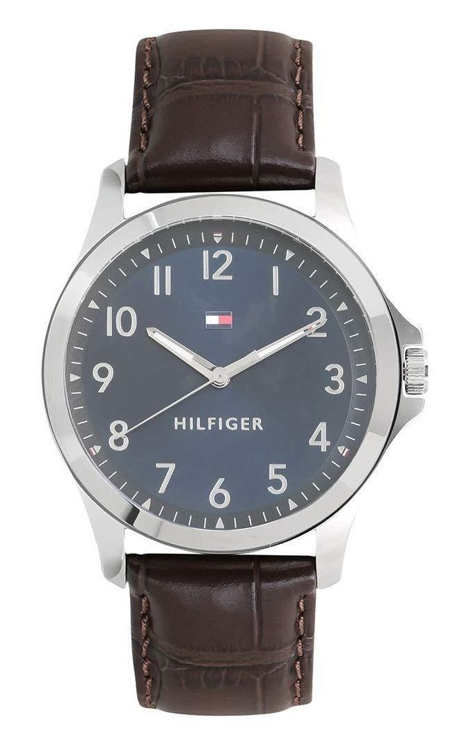 Tommy Hilfiger Analog Blue Dial Brown Leather Band Men's Watch 1791449 $95