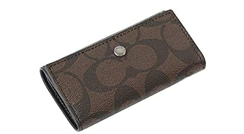 Coach F26104 4 Ring Key Case Card Holder Brown/Black Signature PVC/Leather