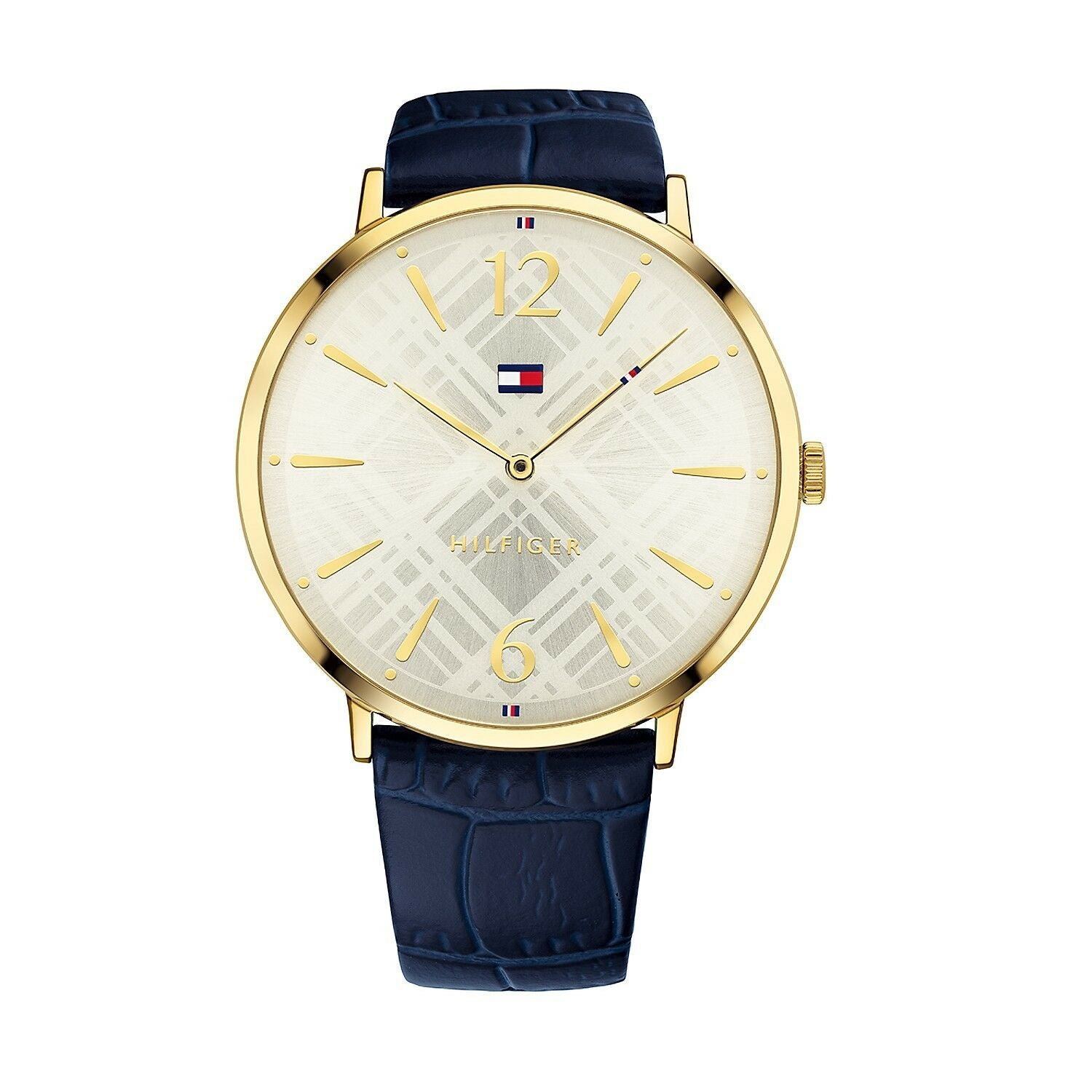 Tommy Hilfiger Women's Gold Classic Watch With Blue Leather Band 1781843 $145