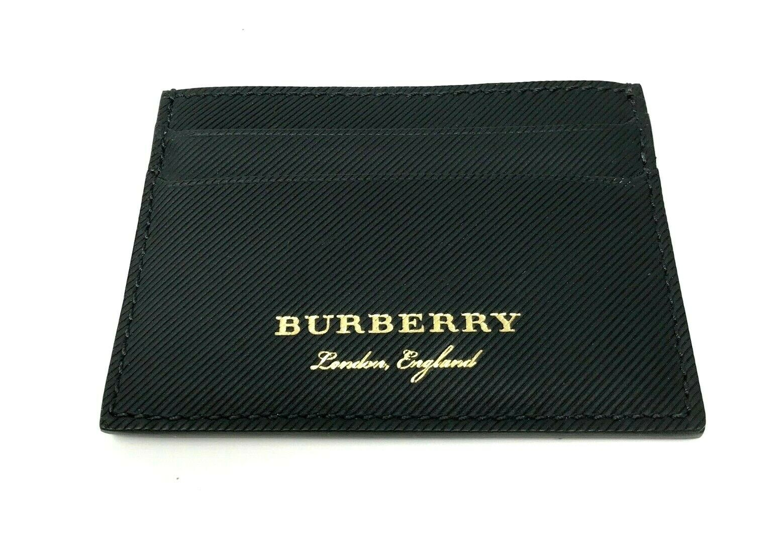 Burberry Men's Trench Sandon Black Leather Card Case Wallet
